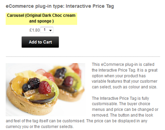 Insert a ShopIntegrator ecommerce button into your 1&1 website