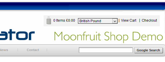 ecommerce buttons in moonfruit shop