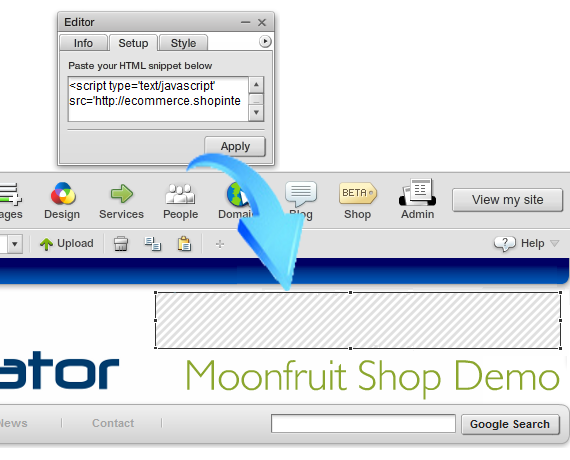 copy and paste shop view basket ecommerce script into moonfruit html snippet