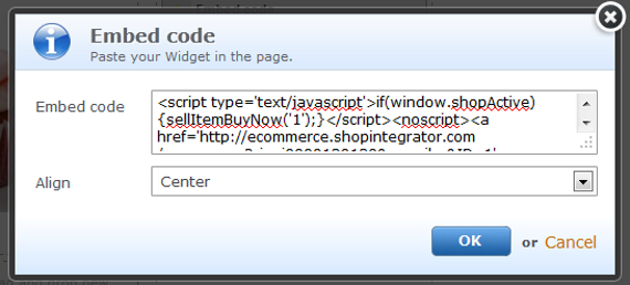 Insert a ShopIntegrator ecommerce button into your Webnode website