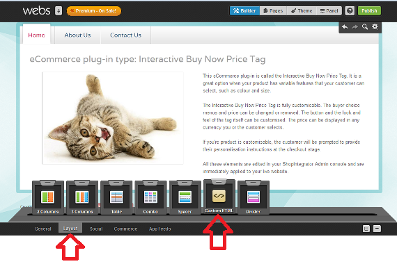 How to add a shopping cart to a Webs website