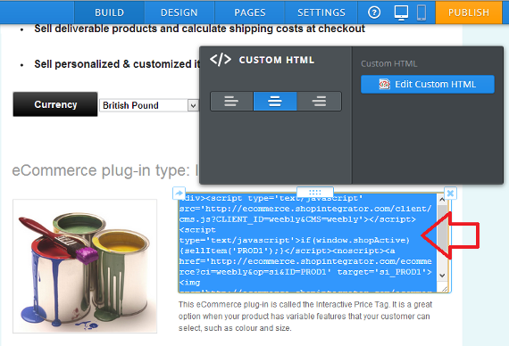 Insert a ShopIntegrator ecommerce button into your Weebly website