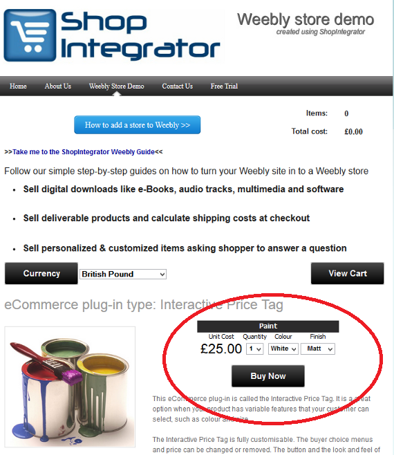 Insert Buy Now ecommerce button into Weebly