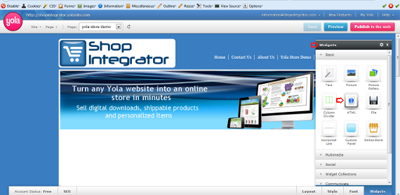 How to add a shopping cart to a Yola website