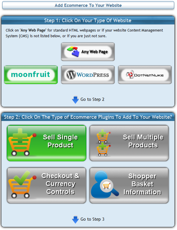 Add ecommerce buttons to moonfruit website