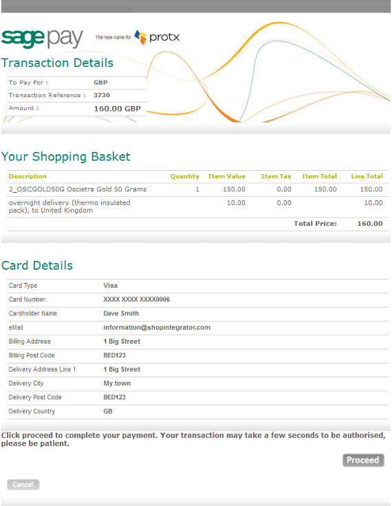 Sage Pay payment processing shopping basket checkout integration