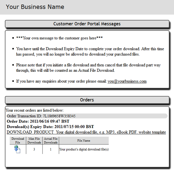 Customer digital download portal