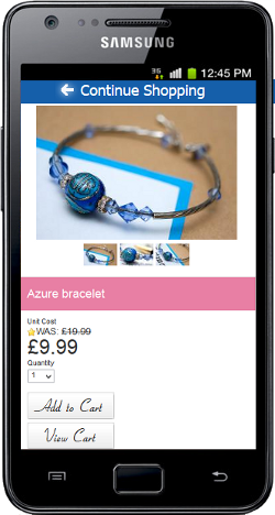 Mobile optimised product detail page
